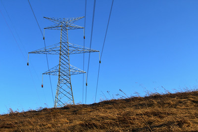 Electrical Tower and Wires Overhead