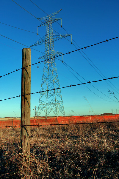 Electric Pylon and Barbed Wire Fence