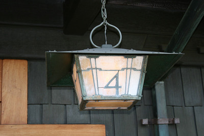 Front porch light; Gamble House, Pasadena, 11 Jan 2009