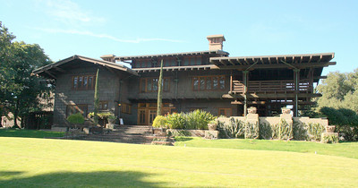 View from street; Gamble House, Pasadena, 11 Jan 2009