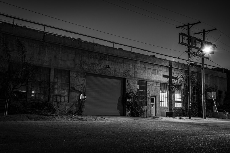 Industrial Building at Night.