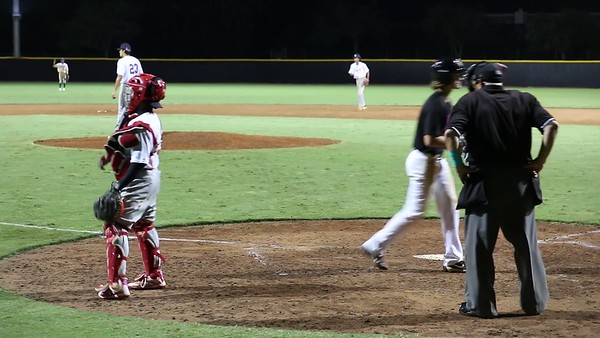 Tristan K on three pitches (out on an 85 mph fastball) against American Heritage