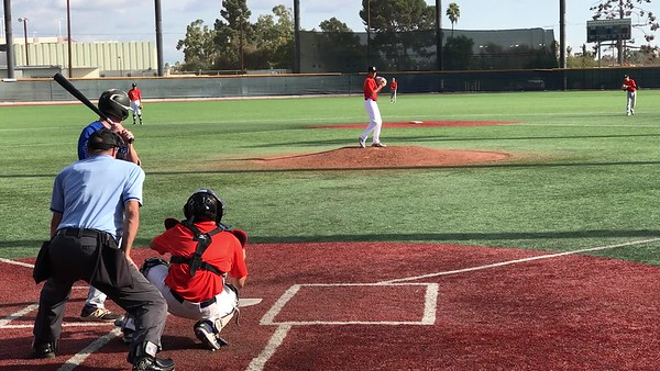 Tristan Pitching Perfect Game- K swinging in three pitches (Breaking ball for strike 3)