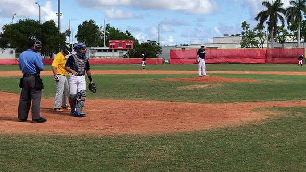 Tristan Pitching against Pompano Beach HS- K swinging on 2-2 count