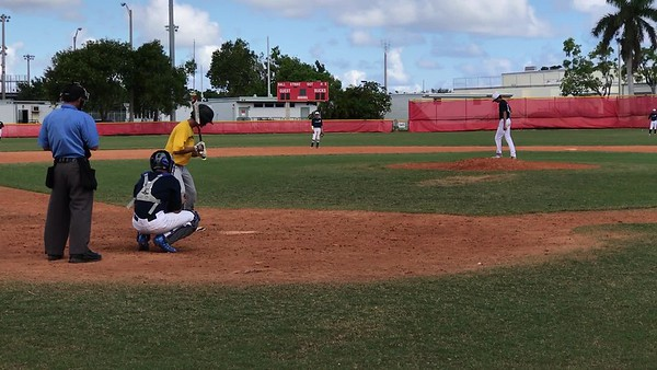 Tristan Pitching against Pompano Beach HS- K looking on full count fastball