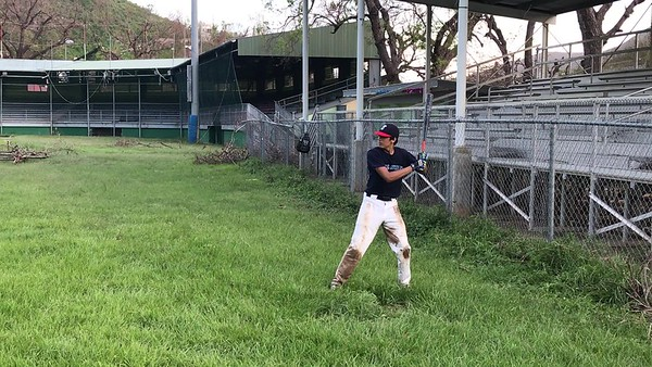 Tristan batting practice after Irma