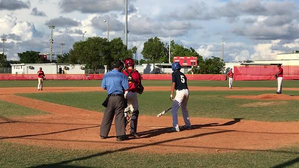 Tristan batting against Deerfield HS- texas leaguer RBI single