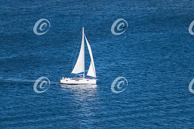 White Sailboat Sailing on a Calm Sea