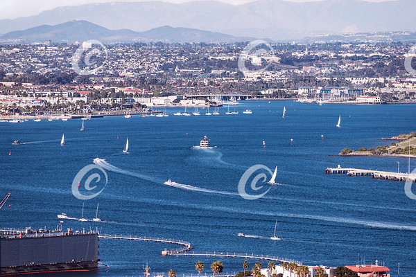 Sailboats on the West End of San Diego Bay on a Clear Day