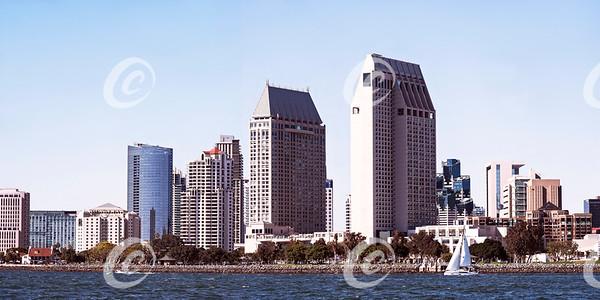 Downtown San Diego, California Skyline and the San Diego Bay