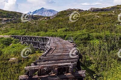 The Unused Historic Steel Bridge on the White Pass Route in Alaska