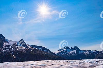 Sunflare Over the Mendenhall Glacier near Juneau in Alaska