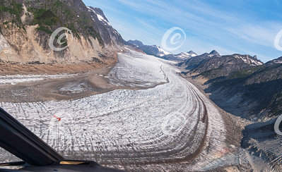 Tilted View of Gilkey Glacier in the Juneau Icefield in Alaska