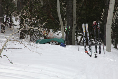 We skied to a picnic lunch located in a protected glade just above Sunset Cabin.