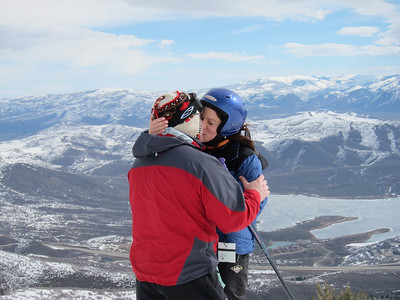 "She said ""yes"" here, atop Bald Mountain overlooking the Jordanelle Reservoir."