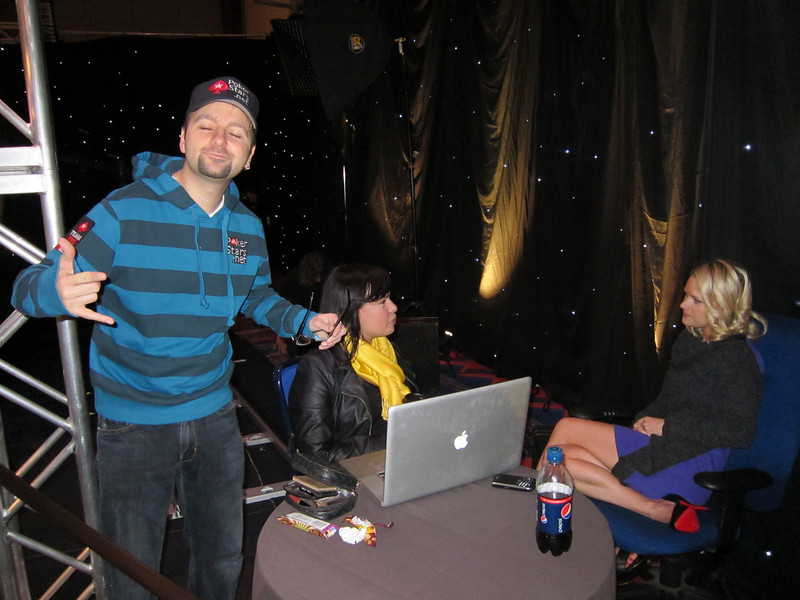 "That includes this blinking guy, Daniel Negreanu.  Daniel's lifetime televised poker winnings total well over $10,000,000.  Check this out:  <br /> <br /> <br /> <a href=""http://www.fullcontactpoker.com/daniel-negreanu/trophy-room.php"">http://www.fullcontactpoker.com/daniel-negreanu/trophy-room.php</a>  <br /> <br /> ... it's impressive.  Mostly, he seems like an energetic people person who loves the game.<br /> <br /> He's arguably, for good reason I think, an ambassador for the poker industry.  I felt grateful that he agreed to pose for this ridiculous picture."