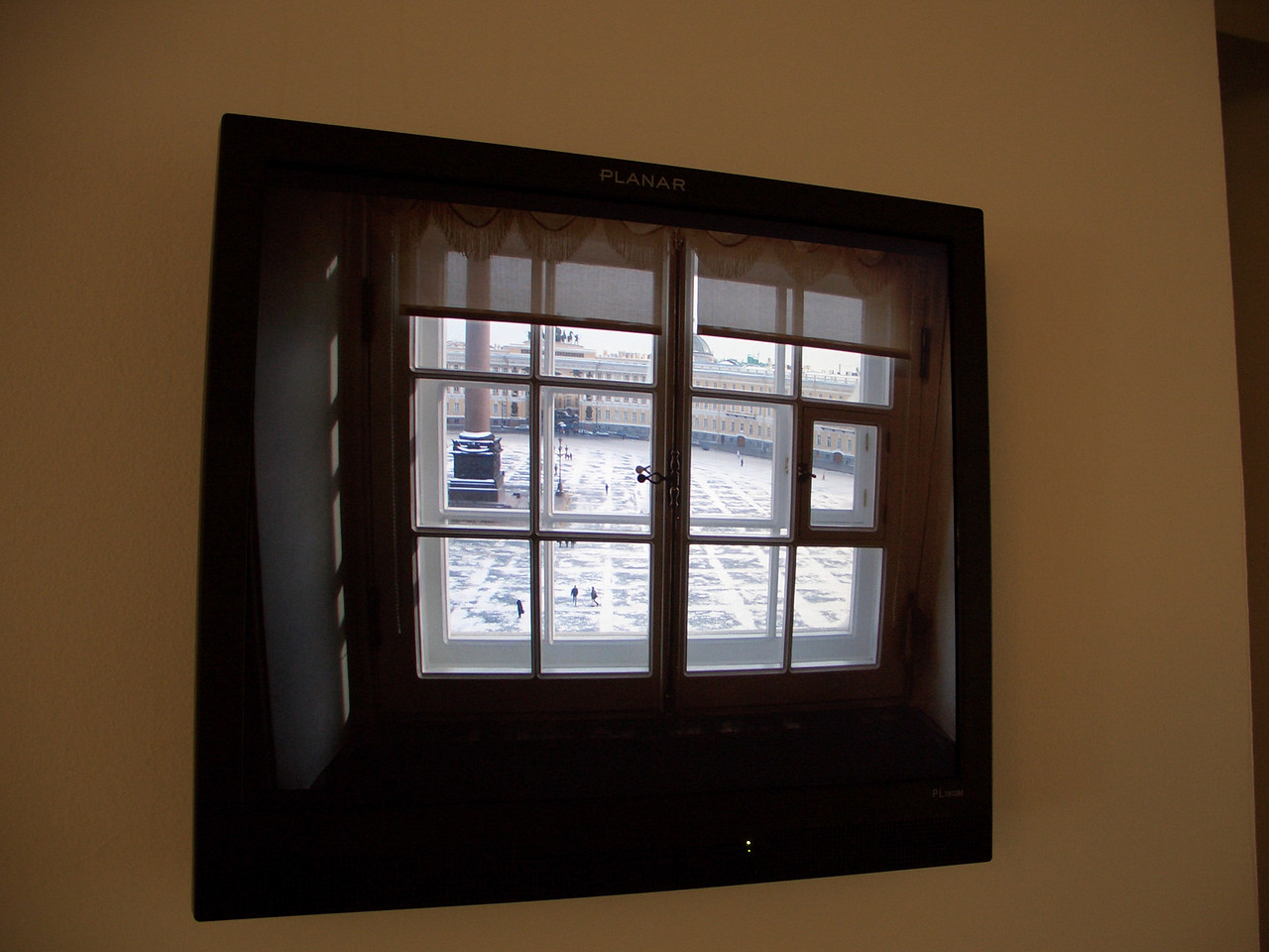 Some fun with the content can be had.  This is actually a window looking out of the Hermitage Museum in Saint Petersburg.