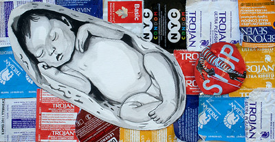 Birth Control (Maria Ossa; collage, ink)
