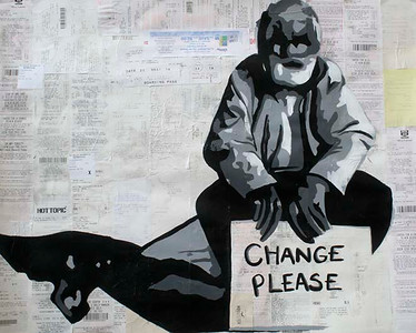 Change Please (Maria Ossa; acrylic on receipt papers)