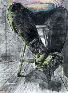Boots (Garrie Ma; charcoal, pastel)