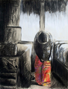 Task (Michelle Cheung; charcoal, ink, pastel)