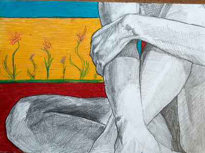 Figure (Madison Haskins; pencil, pastel)