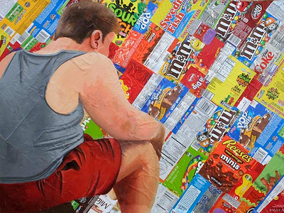 Obesity (Maria Ossa; acrylic on candy wrappers)
