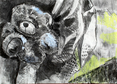 Stuffed Bear (Garrie Ma; charcoal, pastel)