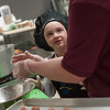 Gabby Abare of Reingold Elemntary chats with her helper Nancy Crowley as they make Low Fat Italian Soup at the 2017 Future Chefs Competition at Fitchburg High School. SENTINEL&ENTERPRISE/ Jim Marabello