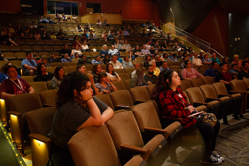 The audience watches the BC Jazz Band perform in the Indoor Theater.