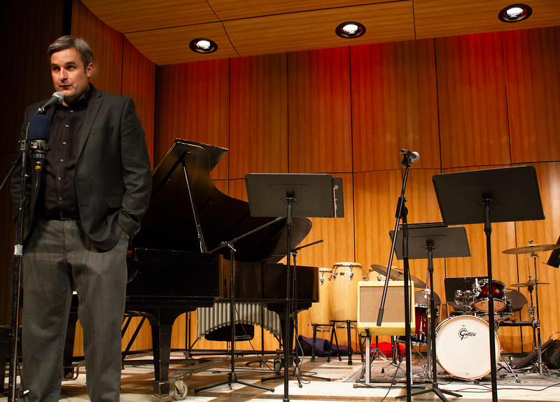 BC Jazz Studies professor Kris Tiner introduces BC Jazz plays the Beatles in the Indoor Theater on April 23rd.