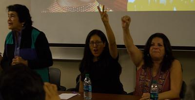 left to right: Dolores Huerta, Camila Chavez, and Lori de Leon