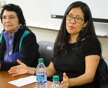 Dolores Huerta (left) and Camila Chavez answer an audience member's question.