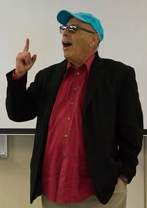 Jimmy Santiago Baca talks in the Levan Center on April 4th.