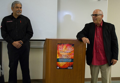 Vidal Herrera (left) and Jimmy Santiago Baca answer questions in the Levan Center.