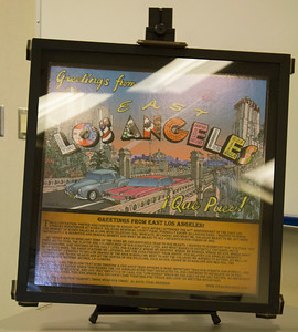 Vidal Herrera's iconic poster of East Los Angeles is displayed in the Levan Center.