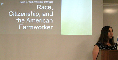 University of Oregon professor Dr. Sarah Wald speaks in the Levan Center.