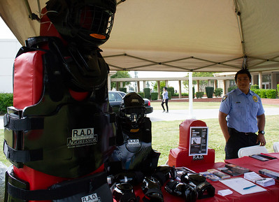 BC Public Safety Cadet Juan Torres hosts a booth about Rape Aggression Defense (RAD) during the Renegade Pulse Health Fair on April 18th.