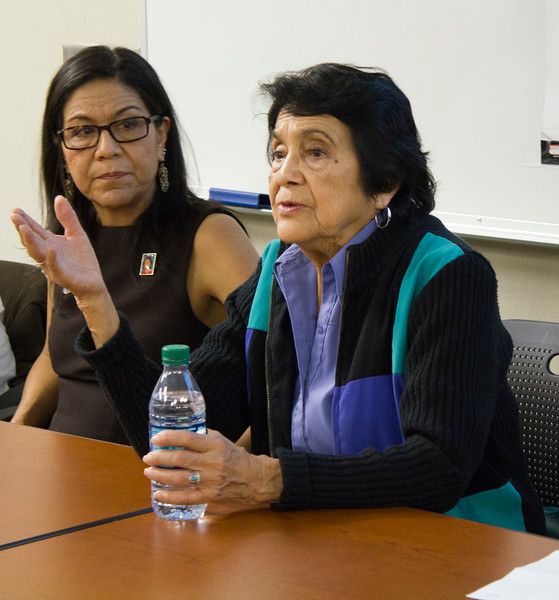Dolores Huerta answers questions in the Levan Center.