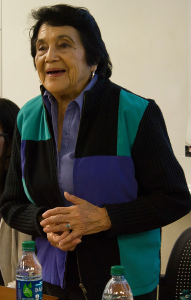 Dolores Huerta answers audience members' questions in the Levan Center.