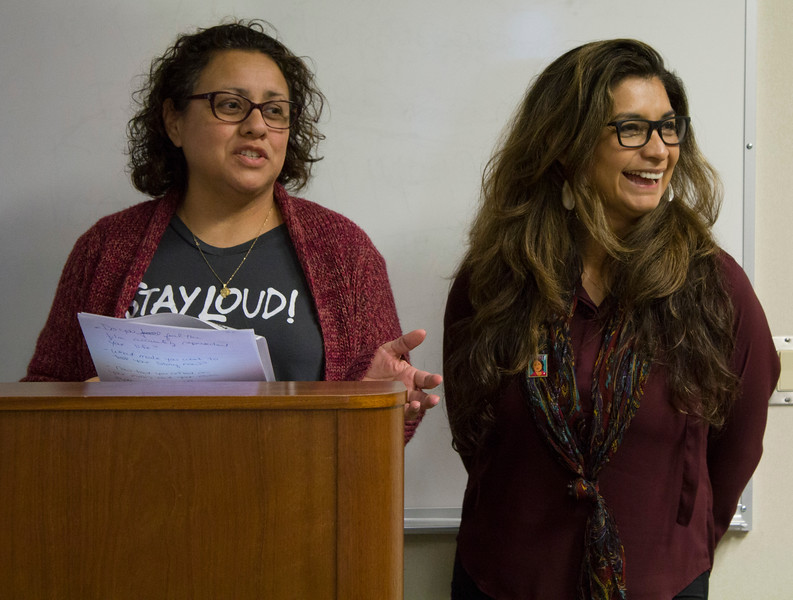 """Tina Mendoza (left) and Olivia Garcia give an introduction before the screening of the PBS documentary """"Dolores"""" in the Levan Center on March 12th."""