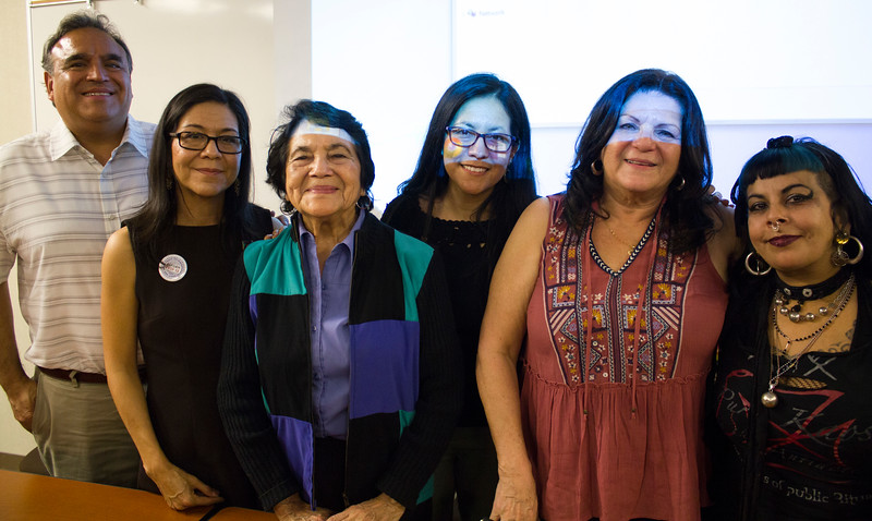 left to right: Emilio Huerta; Juanita Chavez; Dolores Huerta; Juanita Chavez; Lori de Leon; and Noelia Citialin, a BC nursing professor and Dolores' granddaughter.