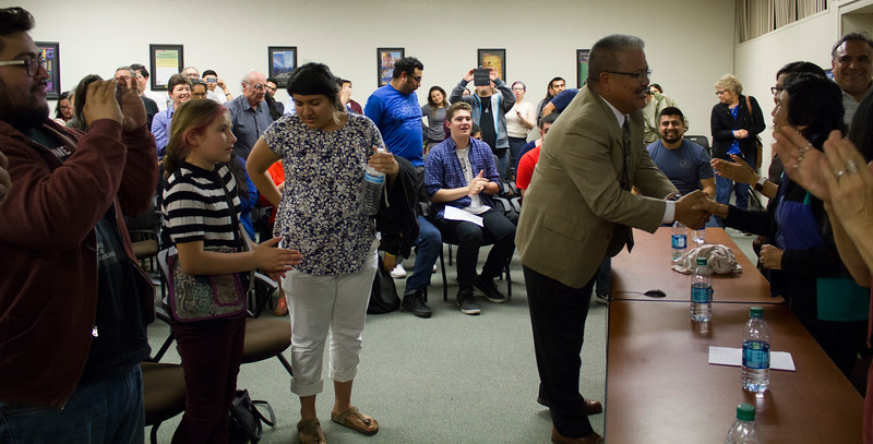 BC Dean of Instruction Cornelio Rodriguez shakes Dolores Huerta's hand at the end of the documentary screening.