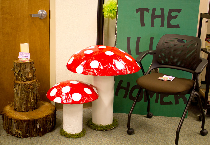 A small display with stumps and plastic toadstools was erected as a reading area in the back of the Levan Center.