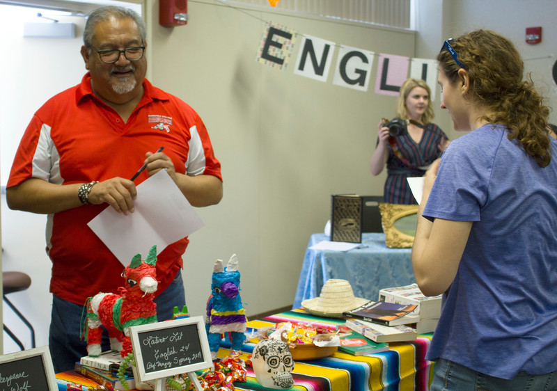 A student learns more about the Latino Literature class offered at BC.