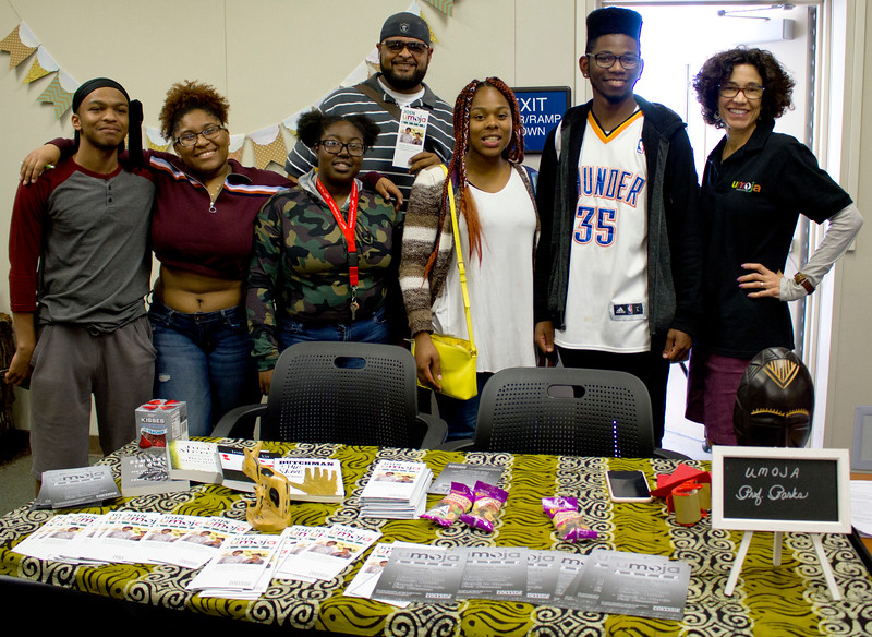 Paula Parks poses with students from BC's Umoja Community.