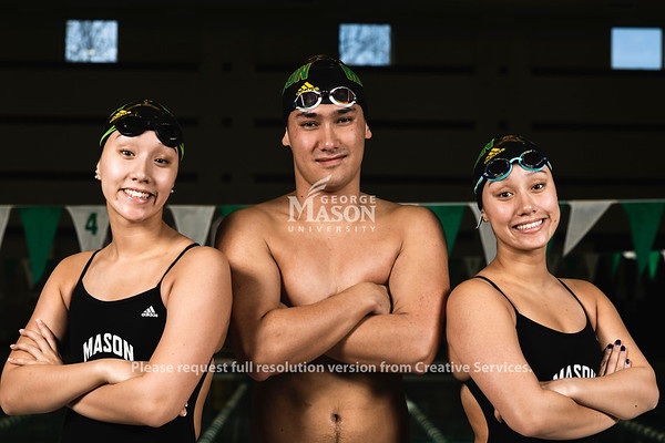 George Mason University Swim Team members and triplets Mia, Tim and Sophie McKinley.  Photo by Lathan Goumas/Office of Communications and Marketing   Photo Taken:Saturday, November 16, 2019