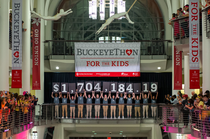 2019 BuckeyeThon Dance Marathon fundraising total reveal at the Ohio State University (Katherine Seghers - Ohio State University Office of Student Life)