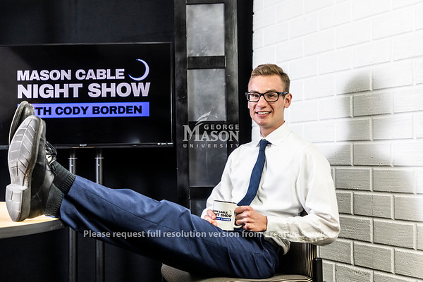 "Host of the ""Mason Cable Night Show"" Cody Borden. Photo by Lathan Goumas/Strategic Communications"