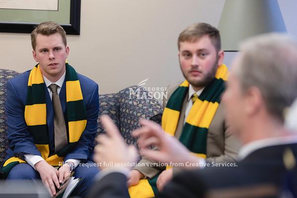 Mason Lobbies, Shane Martin and Camden Layton listen to Delegate David Bulova, SGA, Student Body President, Richmond